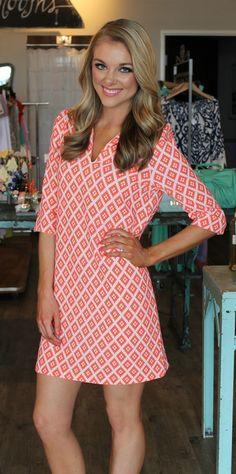 Dottie Couture Boutique - Printed Shift Dress- Coral, $36.00