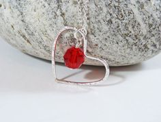 Swarovski Red Crystal Pendant  Silver Heart by BeauBellaJewellery #Swarovski #heart #valentinesgift
