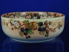 "Paroutaud Freres (P&P) La Seynie Limoges Raspberry Motif Centerpiece Bowl (Signed ""AWE""/c.1903-1917)"