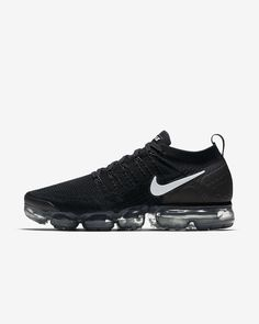 huge discount 5afb9 d578f Mens Nike Air VaporMax Flyknit 2 Running Shoe Black Dark Grey Metallic  Silver