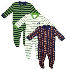 BOYS BABY PACK OF 3 SET FOX & HEDGEHOG SLEEPSUIT ROMPERS SIZE NEWBORN