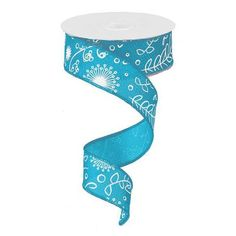 """Cross Royal Plants Pattern Ribbon Size: 1.5"""" width; 10 yards length Color: Turquoise, White Material: Synthetic Wire edge"""