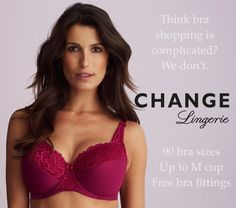 Think bra shopping is complicated? We don't. 90 bra sizes. Up to M cup. Free Bra fittings. #CHANGELingerie #getfit #perfectfit
