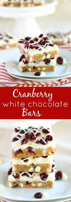 Cranberry White Chocolate Bars - Soft blondies filled with dried cranberries and white chocolate chips and topped with a white chocolate cream cheese frosting (similar to Starbucks Cranberry Bliss Bars). A fantastic holiday dessert!: