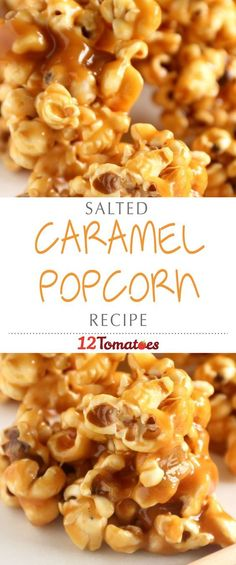 Salted Caramel Popcorn   If you're looking for a snack that's a little bit sweet, a little bit salty, and definitely crunchy, why not caramel popcorn?