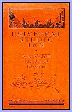 Universal Studio Inn Indian Room, California Restaurant Menu