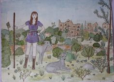 Original Drawing Girl With Greyhounds by PearlsRoom on Etsy, $75.00