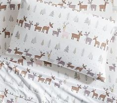 Winter Reindeer Flannel Sheet Set, Standard Pillow Case, White Multi