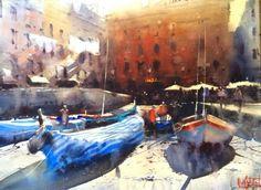 Vernazza | Trinotortosa  Álvaro Castagnet  #alvarocastagnet #acuarela #watercolor #galeriadeartetrinotortosa #ventadearte