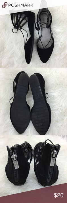 b56c2523daec Kenneth Cole Reaction black flats ankle straps Kenneth Cole Reaction black  flats with elastic straps and