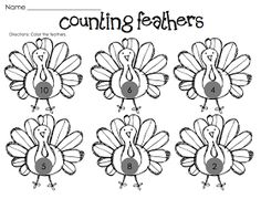Kindergarten Fever: Thanksgiving Printables make turkeys with numbers on chest students stick correct number of feathers in .