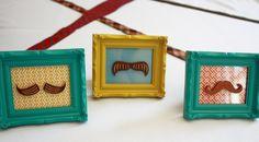 Mustaches in little frames Little Man Baby Shower Saffron & Indigo