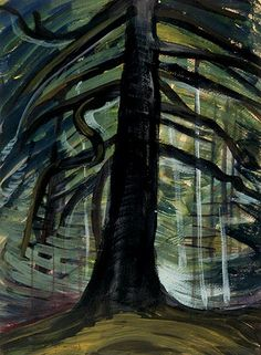 Emily Carr (Can. 1871-1945), Dead tree in the forest, c. 1932, 36.3 x 27.4 cm, oil on wove paper, National Gallery of Canada