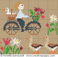 Happy Childhood, The geese (large) cross stitch pattern by Perrette Samouiloff Perrette Samouiloff – Happy Childhood Collection – Geese (cross stitch) Poppy Pattern, Dmc Embroidery Floss, Stuffed Animal Patterns, Le Point, Counted Cross Stitch Patterns, Beading Patterns, Needlepoint, Fabric Crafts, Needlework