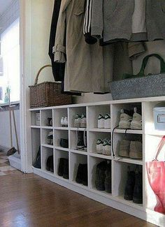 Love the shoe cubby idea. I would go full length of mudroom and higher Ideas Armario, Shoe Cubby, Shoe Shelves, Cubbies, Cubby Bench, Shoe Bench, Bench Seat, Hallway Storage, Shoe Storage In Mudroom