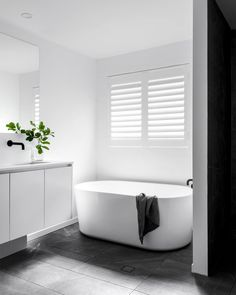 Free standing bath for ensuite. Vanity needs a bit more presence- ? Bathroom Windows, Bathroom Renos, Laundry In Bathroom, Grey Bathrooms, Bathroom Renovations, Modern Bathroom, Small Bathroom, Bathroom Ideas, Master Bathroom