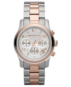 Women's Michael Kors watch in silver and rose gold with chronograph. #love