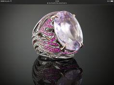 Ring (kunzit,pinк sapphires,diamonds,white gold