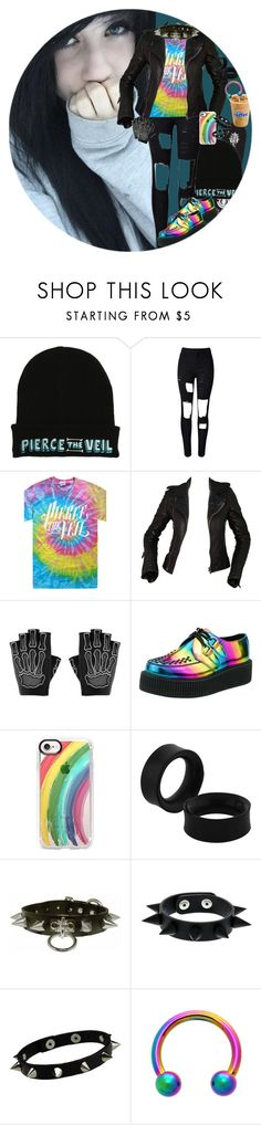 """Rainbow!"" by chemicalfallout249 on Polyvore featuring Hot Topic, Balenciaga, Majesty Black, T.U.K., Casetify, black, emo, bands and alternative"