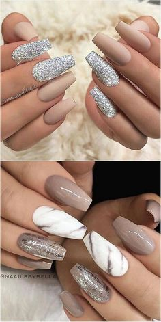 Nail Art Trends 2018 # De beaux ongles en acrylique - WooHoo - Madie U. Classy Nails, Stylish Nails, Trendy Nails, Cute Nails, Sophisticated Nails, Classy Almond Nails, Simple Nails, Marble Nail Designs, Marble Nail Art