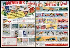 1956 Woolworth's Christmas Hubley Structo Toys Dolls Original 2 Page Magazine Ad Christmas Past, Christmas Toys, Vintage Christmas, Vintage Advertisements, Vintage Ads, Vintage Prints, Doll Toys, Dolls, Toy Catalogs