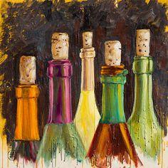 Wine Bottles by AnnMarieCampbellsArt on Etsy, $160.00