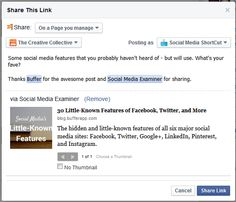 posting attribution on facebook - how to share from multiple pages that you manage.