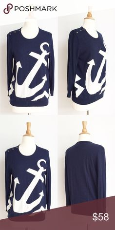 ⭐️Joie⭐️ Anchor Sweater Sweater has been gently worn but in like new condition. The bust measurement is approximately 20 inches across from armpit to armpit. The length is approximately 25 inches. The fabric content is 40% nylon 35% rayon 20% and 5% cashmere. Joie Sweaters Crew & Scoop Necks