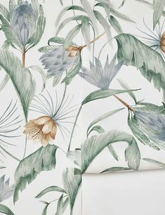 An L+G exclusive, the Rylee + Cru wallpaper collection features minimalist designs inspired by travel, nature and vintage illustrations. The exotic, botanical scene on our Tropical Wallpaper adds a neutral, antique-inspired look for a guest bath or pretty Colorfull Wallpaper, Artistic Wallpaper, Tropical Wallpaper, Botanical Wallpaper, Modern Wallpaper, Home Wallpaper, Wallpaper Roll, Botanical Prints, Pattern Wallpaper