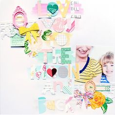 this colorful and fun scrapbook page from @paigetaylorevans.
