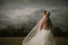 A custom bridal veil from the by KYNA Collection. Jennifer wears a Juliette Cap veil with a detailed lace gathering. Full range of Bridal headwear, veils and accessories available online. Shot in a bog in Ireland Juliette Cap Veil, Wedding Hair Accessories, Headpiece, Vintage Inspired, Wedding Hairstyles, Veils, Wedding Dresses, Lace, Bespoke