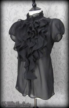 Elegant Gothic Black Sheer Ruffle High Collar Blouse 12 Victorian Goth Governess | THE WILTED ROSE GARDEN