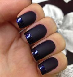 If you think matte black is boring, you can add the glossy black nail polish as a French tip for the accent.