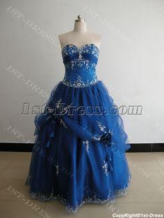 Strapless Sweetheart Floor-Length Satin Organza Plus Size Quinceanera Dress 3151 :1st-dress.com