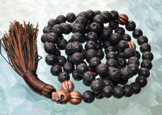 A personal favorite from my Etsy shop https://www.etsy.com/listing/255238266/solar-plexus-third-chakra-copper-basalt #Solar Plexus Third Chakra Copper Basalt Lava rock Mala Beads for Self Esteem, Strong Will power, Vitality, Desire, Social Identity, Vitality # 108 hand knotted black basalt lava mala beads necklace