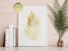 Palm Leaf Print Flower Illustration Gold Palm by LovelyPosters