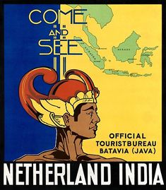 A vintage travel poster from the days when Indonesia was known as The Dutch East Indies. Batavia was the capital.