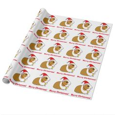 Guinea Pig in Santa Hat Wrapping Paper