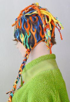 Multicolored flame hat with crocheted yarn