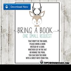 Deer Oh Deer Baby Shower Bring a Book Instead of a Card Printable Book Request Invitation Insert. #cupcakemakeover