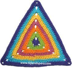Tutorial: punto triangular tejido a crochet.  Pueden tejer hasta un chal o una mantita!!