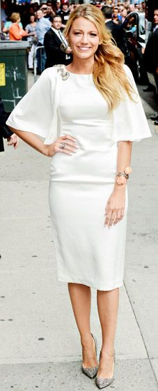 Blake Lively - man if I can find a fab white dress like this..