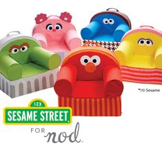 Add a comfy seat to any kids room or playroom with our Sesame Street Nod Chairs. This exclusive collection includes kids chairs inspired by Elmo, Oscar the Grouch, Cookie Monster, Abby Cadabby and Big Bird.