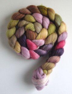 Polwarth/Silk Roving (Top) - Handpainted Spinning or Felting Fiber, First Bloom. $22.95, via Etsy.