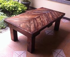 #LivingRoom, #PalletTable, #RecyclingWoodPallets Coffee table made with old repurposed pallets.