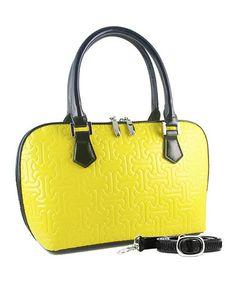 c1c9a84252 Bravo Handbags Yellow Jigsaw Anuta Leather Satchel