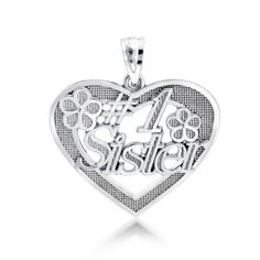 .925 Sterling Silver #1 Sister Message Pendant 18in Jewelry Boxes Wholesale, Magnifying Glass Pendants, Message For Sister, Bling Jewelry, Flask, Heart Ring, Messages, Sterling Silver, Rings