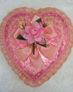 Vintage Pink Valentine Candy Box Gorgeous by reginasstudio on Etsy, $75.00