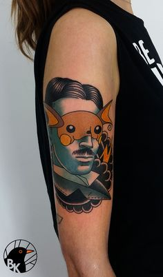 Nikola Tesla / Raichu by Bartek Kos Tattoo https://www.instagram.com/bk_tats/