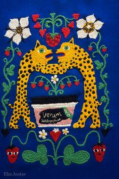 Yllebroderi av Elin Jantze efter en illustration av Maja Sten för Verum Hälsoyoghurt Wool Embroidery by Elin Jantze following an illustration by Maja Sten for Verum Hälsoyoghurt